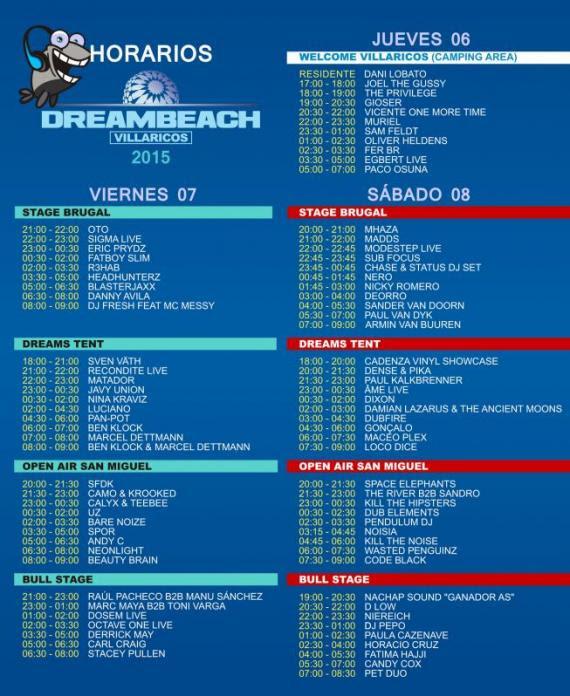 horarios-dreambeach-edmred Dreambeach Villaricos: info, horarios y planos