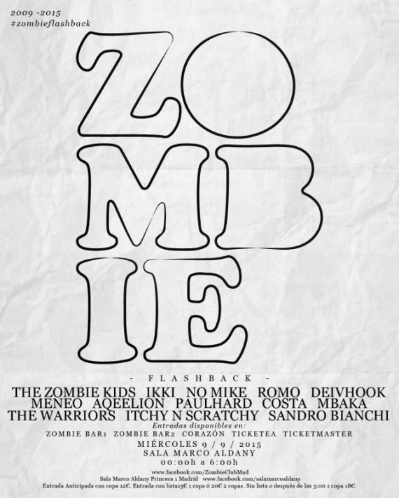 cartel-zombie ZOMBIE CLUB ABRE UNA NOCHE PARA CELEBRAR SU V ANIVERSARIO