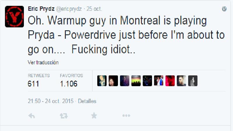 enfado-prydz Eric Prydz muy molesto en Canadá