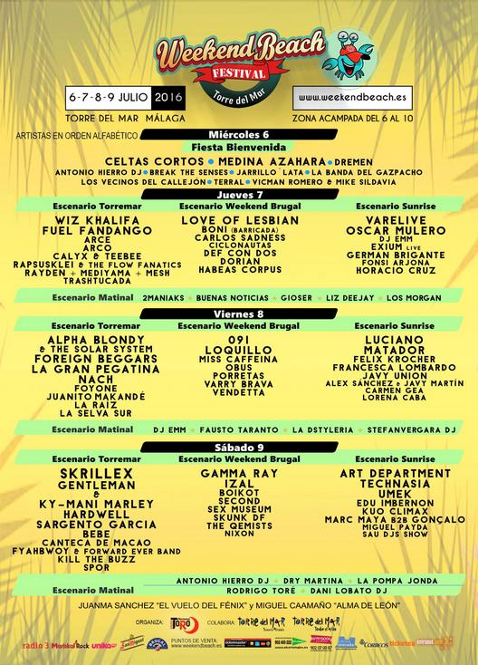 cartel-completo-Weekend-Beach-2016-EDMred Hardwell y Skrillex coinciden el sábado en Weekend Beach Festival