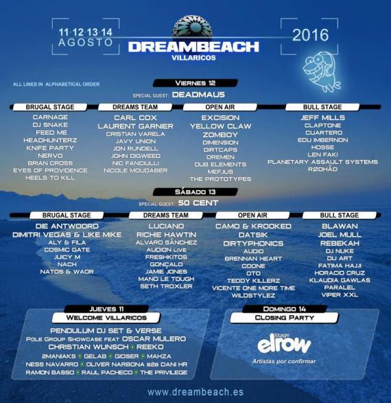 cartel-por-días-Dreambeach-EDMred Dreambeach Villaricos 2016 cierra su cartel