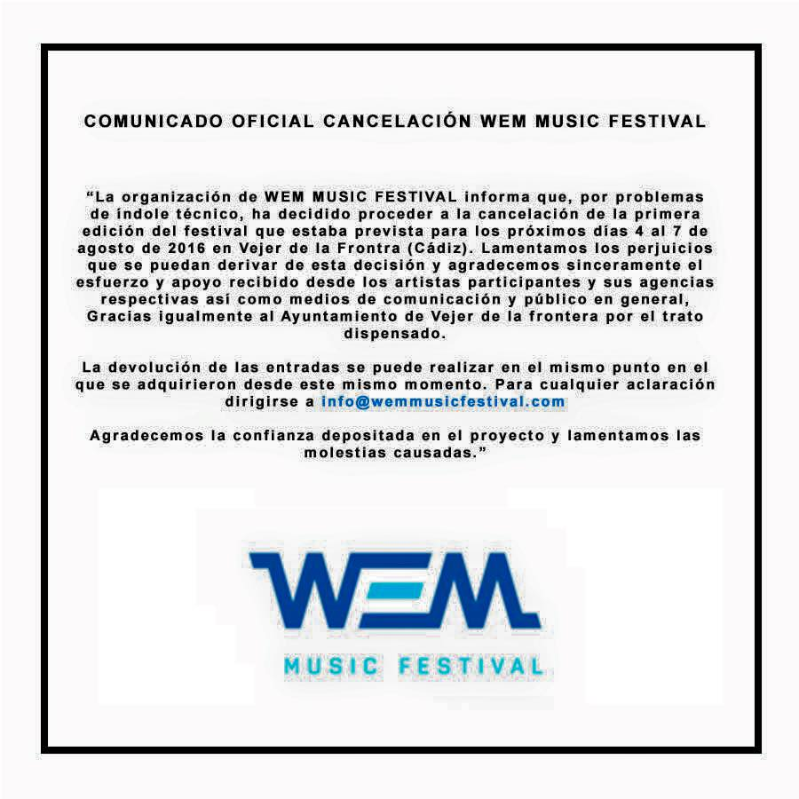 comunicado-WEM-Music-Festival WEM Music Festival cancelado