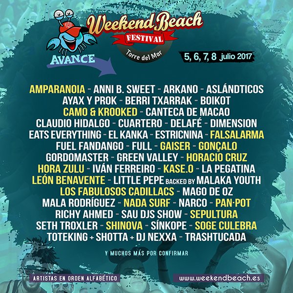 WeekendbeachAvance3-2017 Nuevas confirmaciones para Weekend Beach Festival 2017