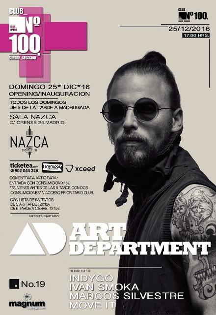 cartel-club-N100-art-department-EDMred Club nº100 regresa con Art Department como invitado