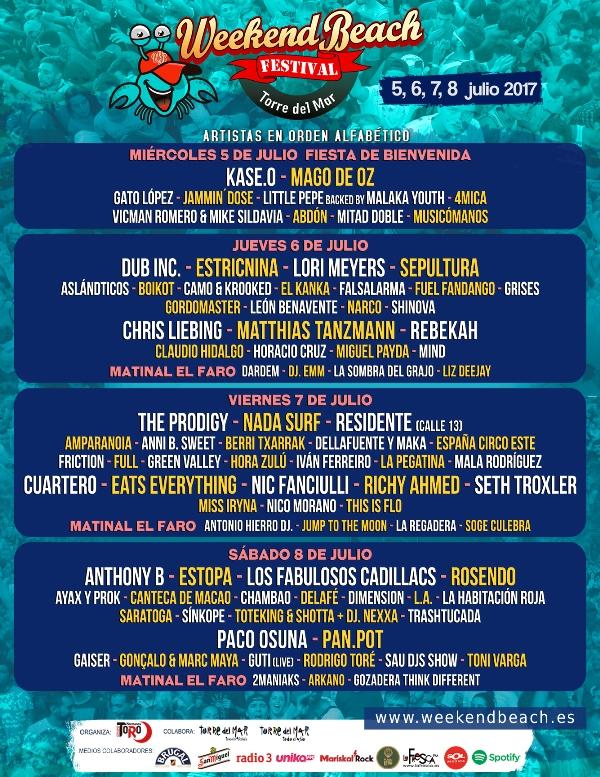 Weekendbeach-Cartel-Por-Dias-2017-EDMred Weekend Beach Festival 2017 camina hacia el Sold Out