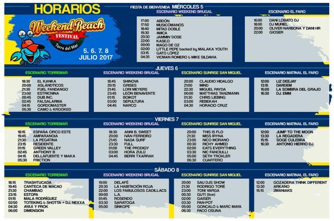 HorariosWeekend_2017-679x450 Weekend Beach Festival al borde del sold out