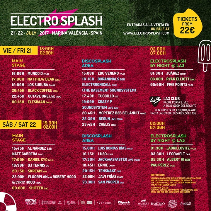 HORARIOS-ELECTROSPLASH-2017 Horarios ElectroSplash 2017