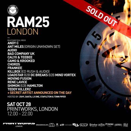 21273433_1649090578457486_5459346437176126840_o-450x450 RAM Records celebra su 25 aniversario en Printworks London con un line up de miedo