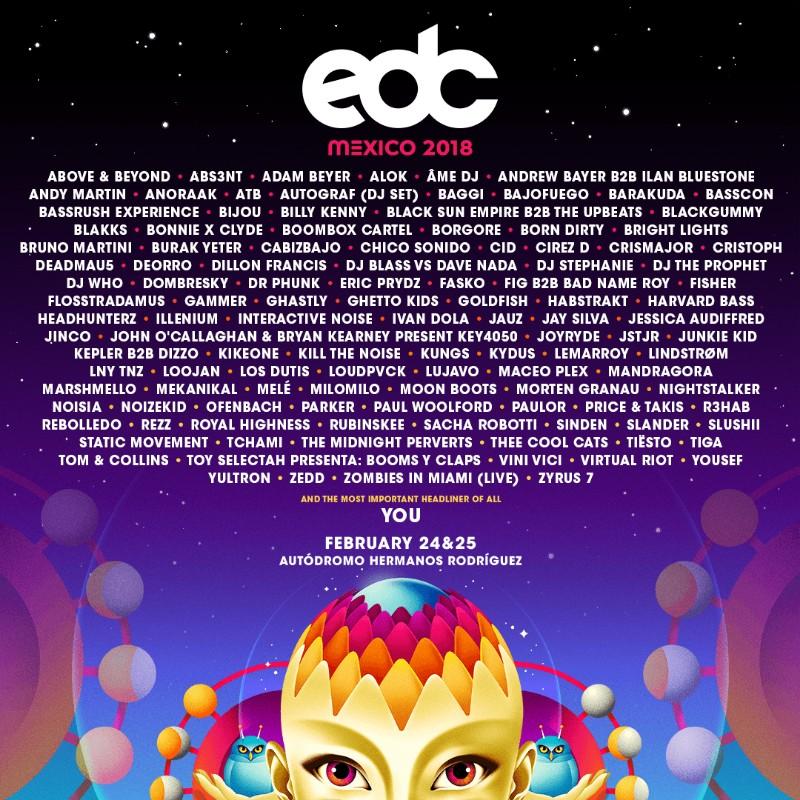 lineup-EDC-México-2018-en-EDMred EDC México 2018