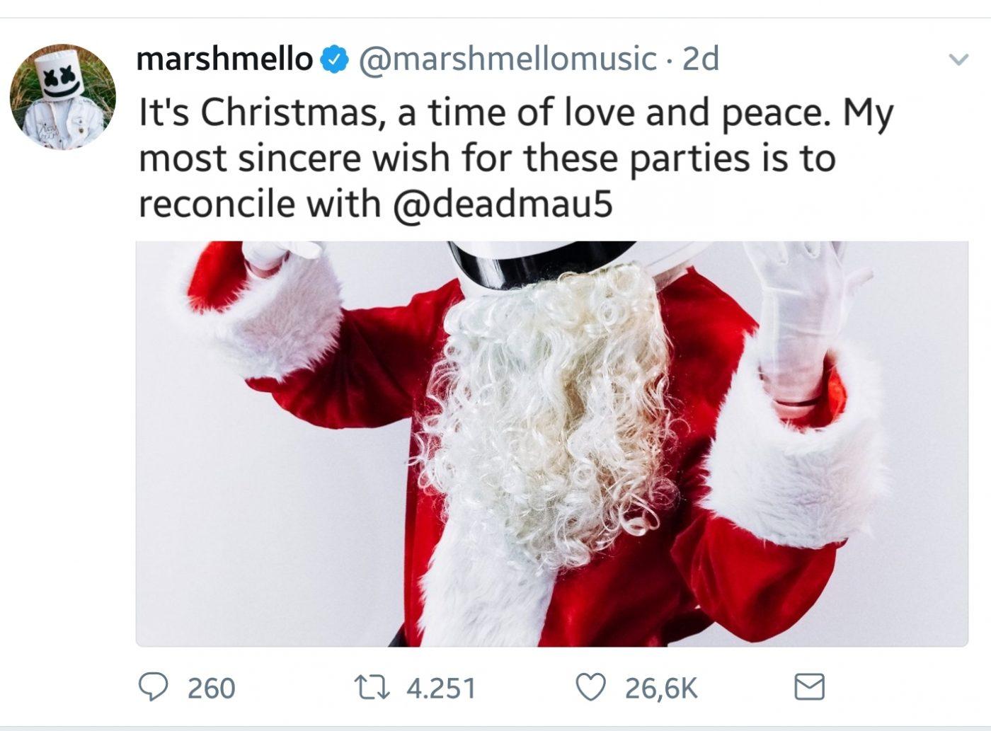 20171228_095414 [Broma Santos Inocentes] Deadmau5 y Marshmello firman la paz a través de Twitter por Navidad