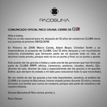 comunicado-paco-osuna-450x450 Club4 se despide de las noches de Barcelona tras 12 años
