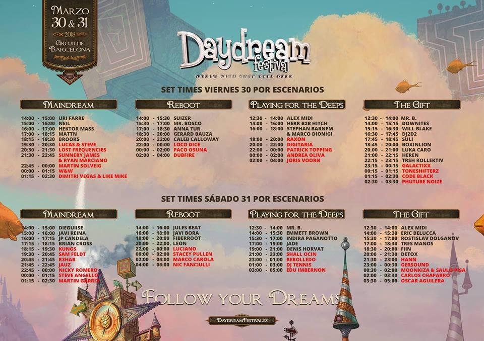 Cartel-con-horarios-Daydream-2018 Planos, horarios y más detalles sobre DayDream Festival Barcelona