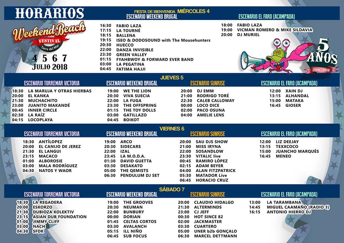 HORARIOS_WEEKENDBEACH-EDMred Todo listo para Weekend Beach Festival 2018