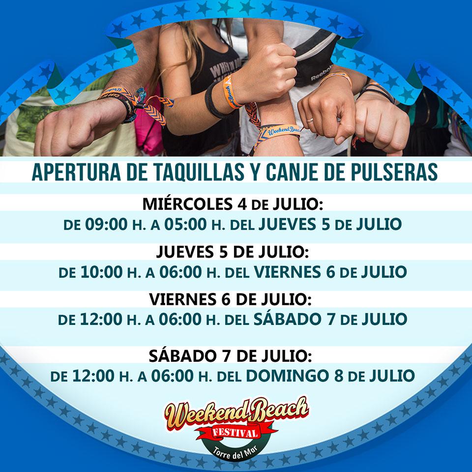weekendbeach_TAQUILLAShorarios Todo listo para Weekend Beach Festival 2018