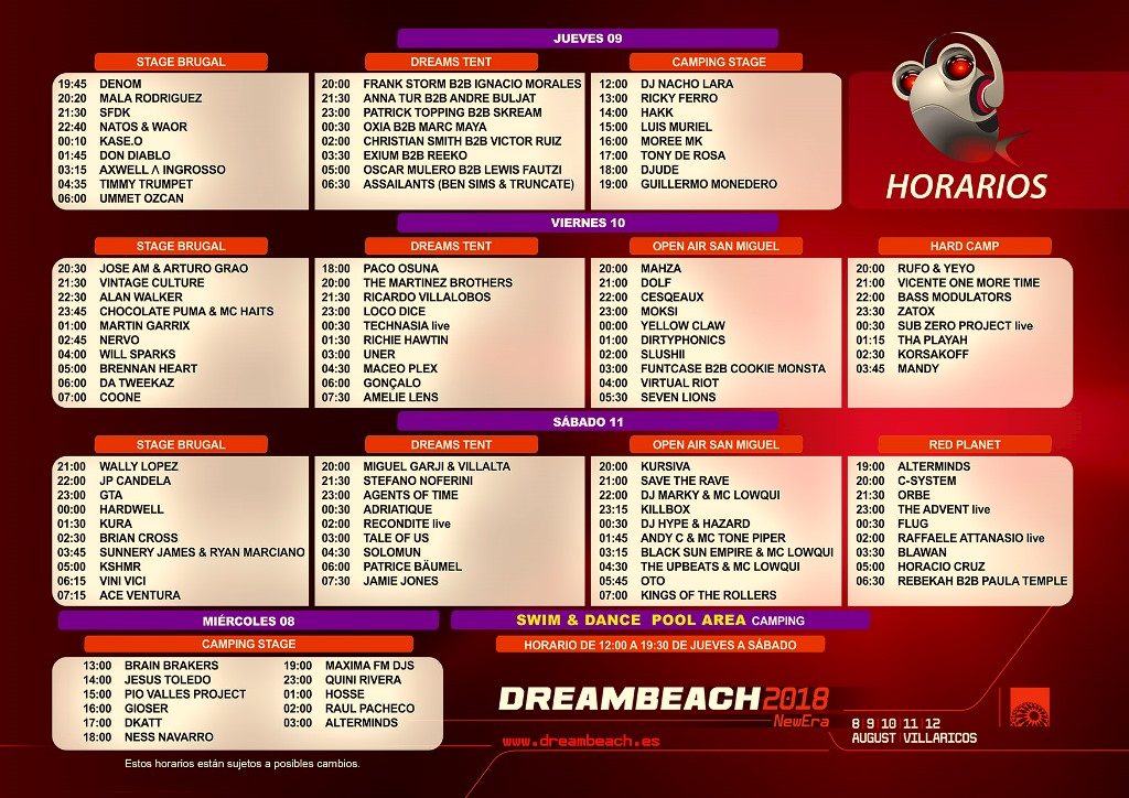 Dreambeach_2018_horarios Horarios Dreambeach 2018