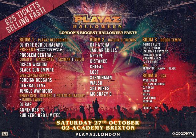 42160588_10156931703409604_3774729465192513536_o-637x450 Playaz Recordings aterriza en O2 Academy Brixton, Londres, por Halloween