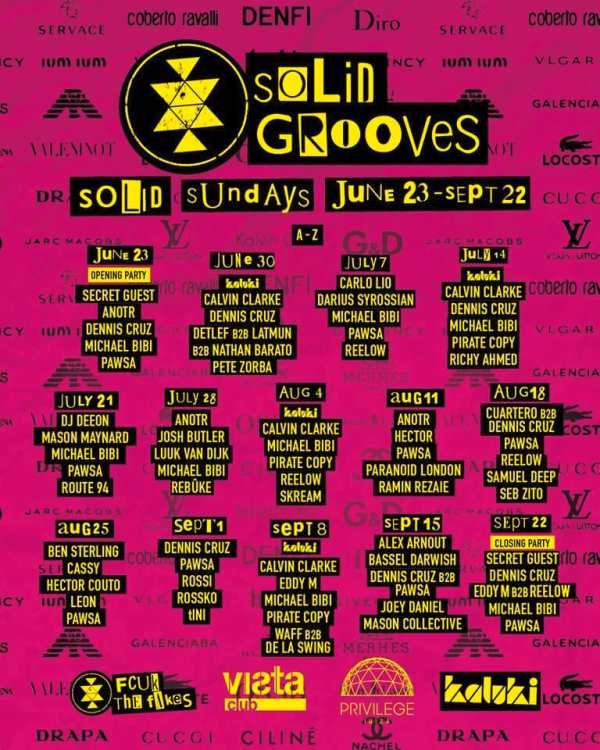 Weekly-lineups LineUp de Solid Grooves en Privilege Ibiza