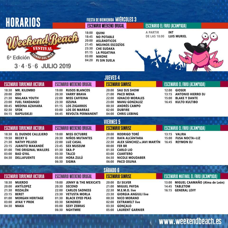 cabecera_Weekendbeach.121414 Horarios Weekend Beach Festival 2019