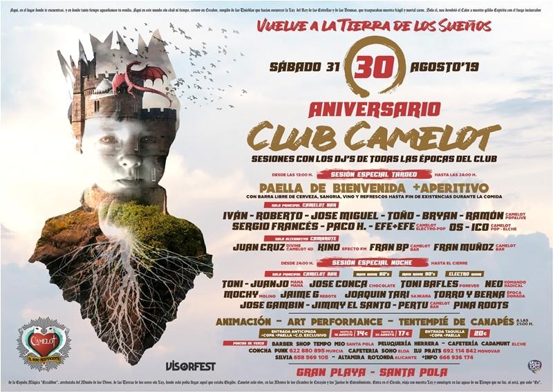 CARTEL-CAMELOT-30-AÑOS-Vuelve-a-la-tierra-de-los-sueños ACTUALIZADO Horarios | 30 años de Club Camelot