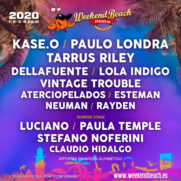 confirmaciones-weekend-beach-2020-enero Weekend Beach 2020 > Cartel, noticias e info actualizada